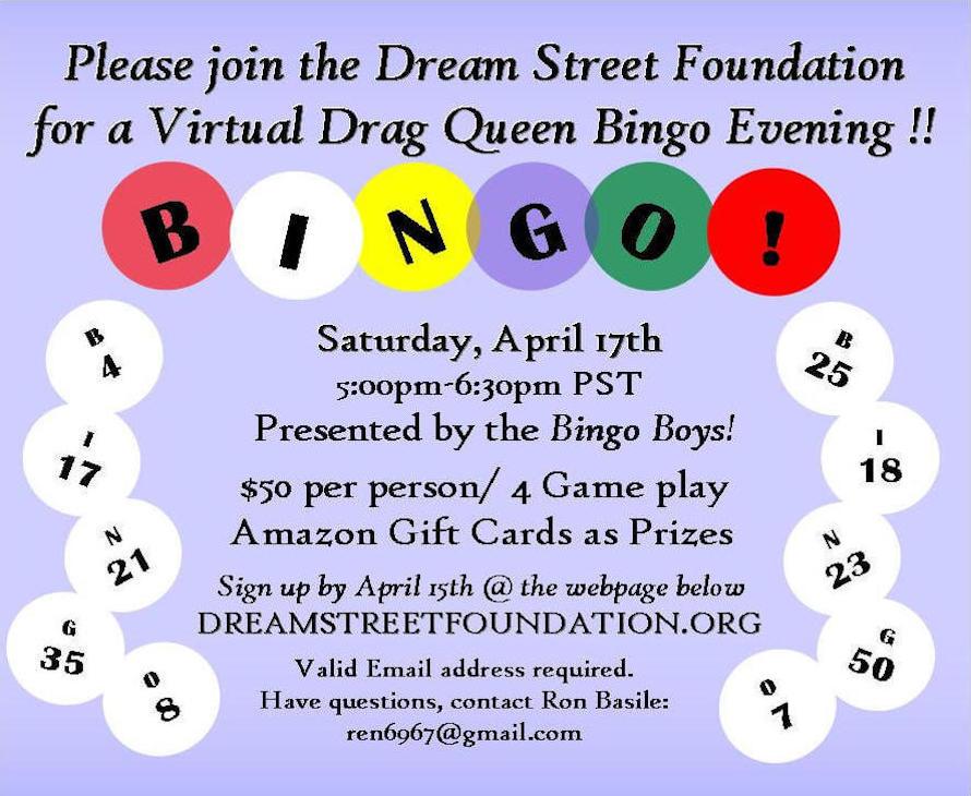 Dreamstreet Fundation Bingo